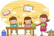 卡通新生入学插画卡通学生图片