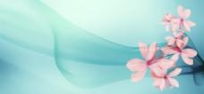 粉红花朵小清新淘宝背景