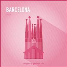 粉色巴塞罗那背景与大教堂