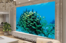 海洋海底背景墙效果图