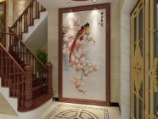 背景墙设计尚佳品革中式经典白玉霓裳