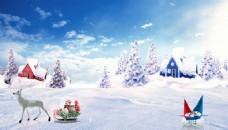 圣诞节海报雪景素材