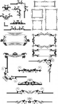 欧式花纹边框矢量素材