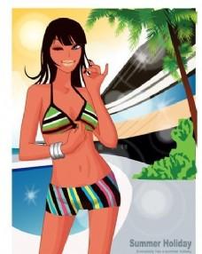 时尚女性 浪漫夏日 沙滩泳装 矢量人物 AI_56