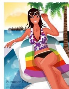 时尚女性 浪漫夏日 沙滩泳装 矢量人物 AI_61