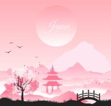 日式风格风景插画矢量素材