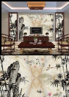 大理石水墨画背景墙