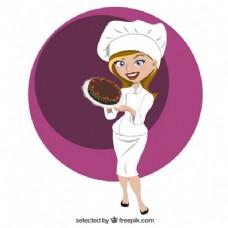 美丽的糕点厨师