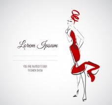 穿红色礼服的女郎