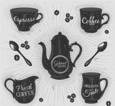 7款手绘咖啡器具矢量图