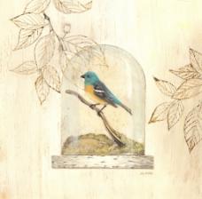 玻璃与鸟手绘装饰画