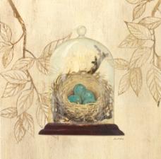 鸟窝手绘装饰画