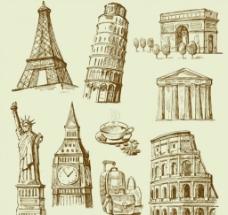 矢量复古手绘线条建筑图图片