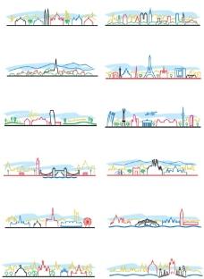 简约彩色城市线条剪影图片