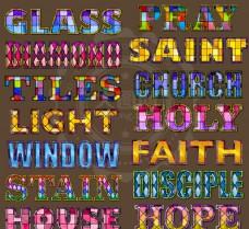 玻璃彩绘图案艺术字PS样式
