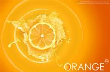 橙子切块橙汁海报素材