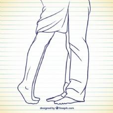 在粗略的风格的女人和男人的腿