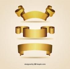 金色复古的丝带