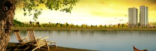湖边背景素材