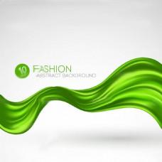 绿色唯美彩条丝带背景矢量