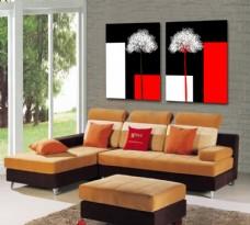黑白红简约风无框画模板