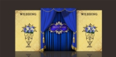 蓝黄色婚礼背景图片
