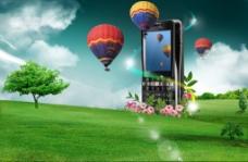 按键老人机清新旷野热气球背景海报