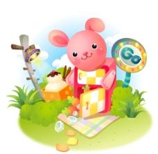 韩国可爱兔子卡通矢量素材9