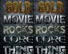 5款金属质感的电影字体PS样式V1