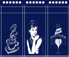 咖啡吧或者酒吧装饰用三联丝网印半帘