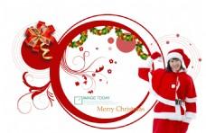 红色喜庆圣诞节装饰与美女人物PSD
