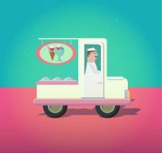 卡通雪糕车和司机设计矢量素材下载