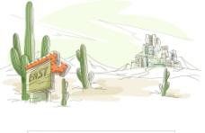 沙漠城市风景插画图片