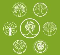圆形抽象树木图标矢量素材下载