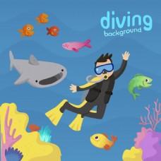卡通潜水背景