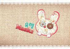 麻布背景韩版兔子口罩海报
