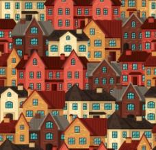 彩色建筑无缝背景图片