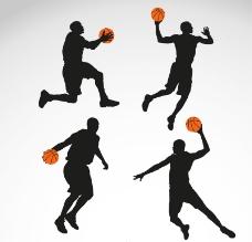 4款篮球男子剪影矢量图.