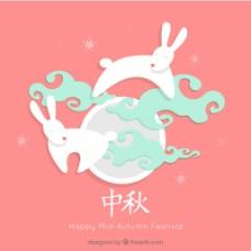 中秋节卡粉色背景矢量图素材