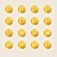 16款金币图标矢量素材