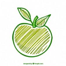 手绘绿苹果