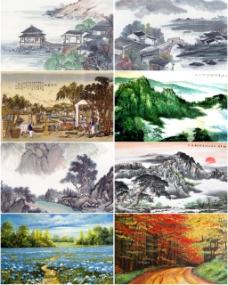 山水国画背景