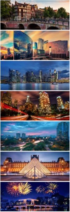 繁华城市夜景建筑