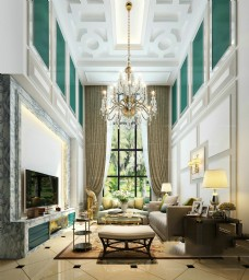 客厅 欧式风格 效果图-施工图