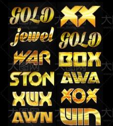 12款金色质感的艺术字PS样式