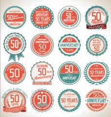 16款50周年纪念标签矢量图