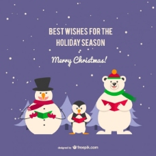 企鹅和熊的圣诞卡