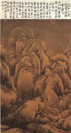 雪山萧寺图 山水画 中国古画_0068图片