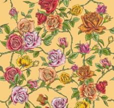 彩绘玫瑰丛无缝背景矢量素材
