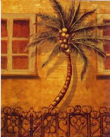 复古椰子树装饰画油画